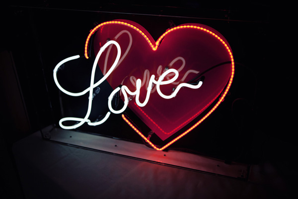 neon 'Love' heart sign