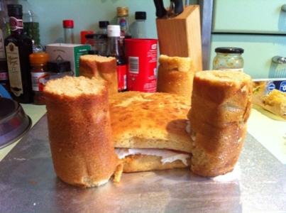 Unfinished castle cake
